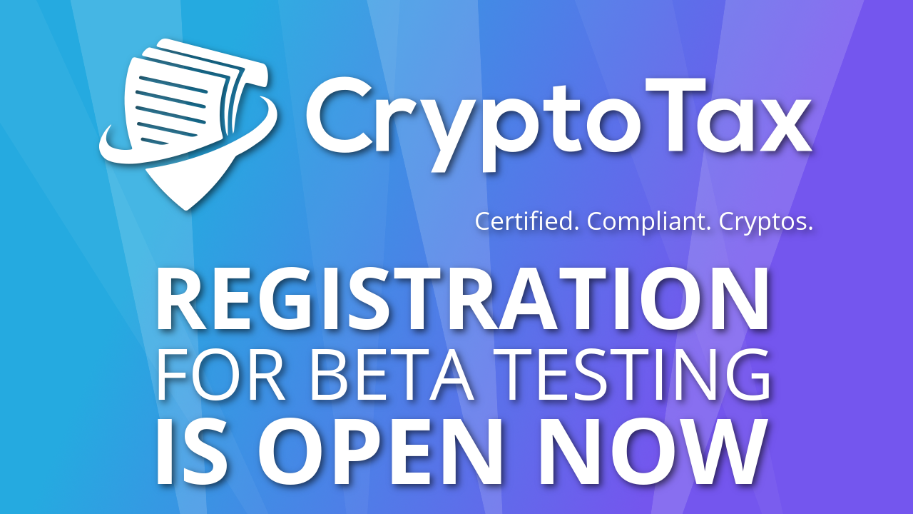 Registration for Beta Testing CryptoTax is open now
