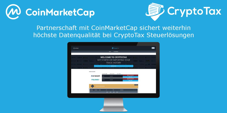 Partnerschaft mit CoinMarketCap sichert weiterhin höchste Datenqualität bei CryptoTax Steuerlösungen